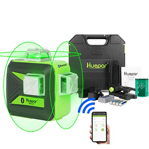 Huepar 3x360 Green Beam 3D Laser Level with Bluetooth Connectivity, Three-Plane Self-Leveling and Alignment Cross Line Laser Level-360° Horizontal and Vertical Lines Tool with Hard Carry Case 603BT-H