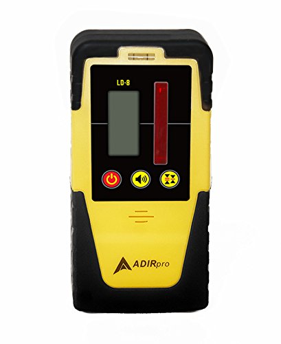 Adir Universal Rotary Laser Detector - Dual Display Laser Receiver with Auto-Shutoff Feature, and Built-in Bubble Level - Compatible with All Red Rotary Lasers - Rod Clamp Included (LDG-8)