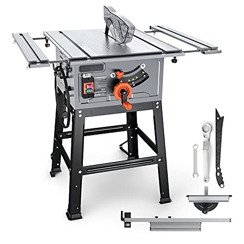 Table Saw, 15A 10-Inch, 4800RPM, 25.3''x 28.3'' Extension Table saw,Cutting Capacity : 2-4/5'' at 90° and 2'' at 45°, Jobsite Table Saw with Stand, Push Bar, Rip Fence & Miter Gauge