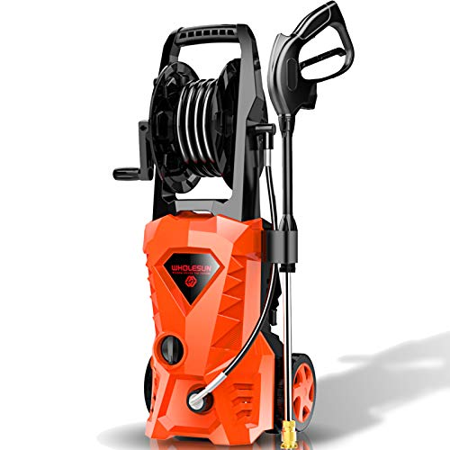 WHOLESUN 3000PSI Electric Pressure Washer 2.4GPM Power Washer 1600W High Pressure Cleaner Machine with 4 Nozzles Foam Cannon,Best for Cleaning Homes, Cars, Driveways, Patios (Organe)