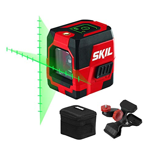 SKIL 65ft. Green Self-leveling Cross Line Laser Level with Projected Measuring Marks, Rechargeable Lithium Battery with USB Charging Port, Clamp & Carry Bag Included - LL932401