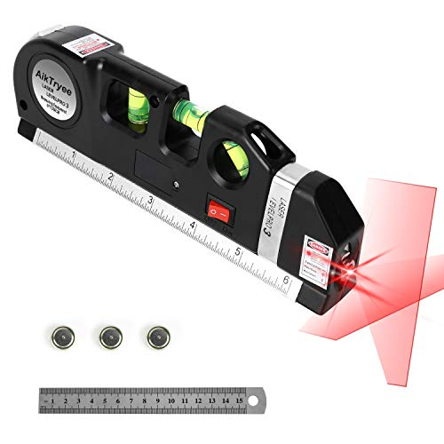 Laser Level Line Tool, Multipurpose Laser Level Kit Standard Cross Line Laser level Laser Line leveler Beam Tool with Metric Rulers 8ft/2.5M for Picture Hanging cabinets Tile Walls by AikTryee.