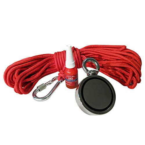 N35 Super Strong Double Sided Neodymium Fishing Magnet 700Lbs (320kg) Pulling Force. Bundle Includes- D60mm Silver Fishing Magnet, 66ft High Strength Nylon Rope with Carabiner and Threadlocker Glue.