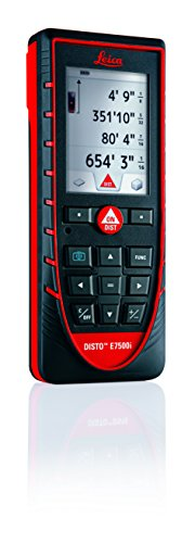 Leica Geosystems Leica DISTO E7500i 660ft Laser Distance Measure w/Bluetooth & DISTO Sketch iPad iPhone App, Black/Red