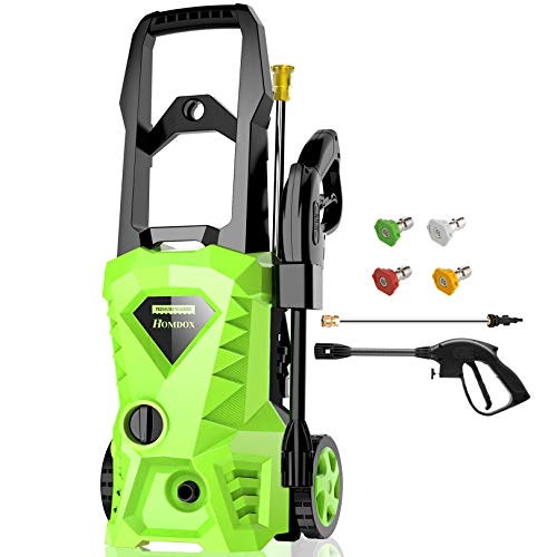Homdox 2500 PSI,1.5GPM Pressure Washer Electric Power Washer With 4 Nozzles,Longer Cables and Hoses,for Cleaning Cars, Driveways, Garden (Green)