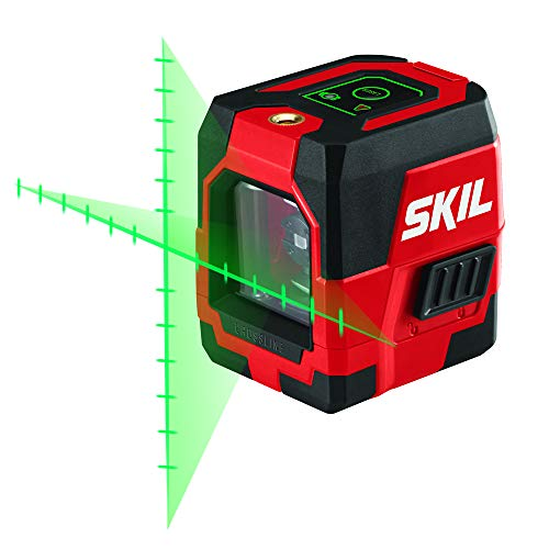 SKIL 65ft. Green Self-leveling Cross Line Laser Level with Projected Measuring Marks, Rechargeable Lithium Battery with USB Charging Port, Clamp & Carry Bag Included -