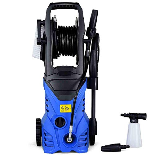 Goplus Electric Pressure Washer High Power Machine w/ 16.5ft Hose, Wash Brush, Soap Bottle, 2030PSI 1.6GPM 1800W (Blue)