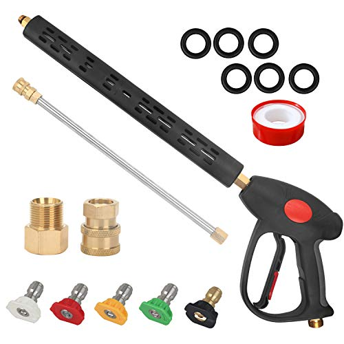 STYDDI High Pressure Washer Replacement Gun, 4000PSI Power Washer Spray Gun with 33 Inch Replacement Extension Wand and 5 Nozzle Tips, M22 Fitting, 41 Inch