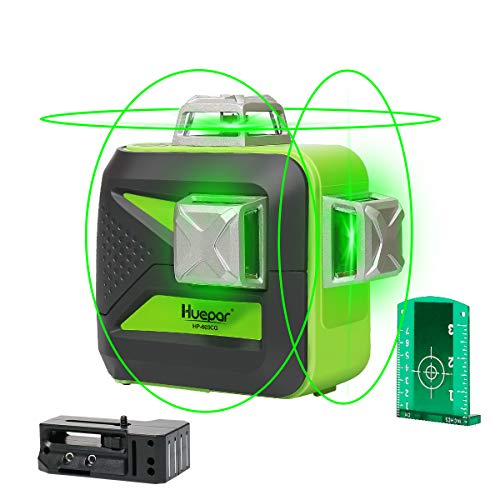 Huepar 3D Green Beam Self-Leveling Laser Level 3x360 Cross Line Laser Three-Plane Leveling and Alignment Line Laser Level -Two 360° Vertical and One 360° Horizontal Line -Magnetic Pivoting Base 603CG