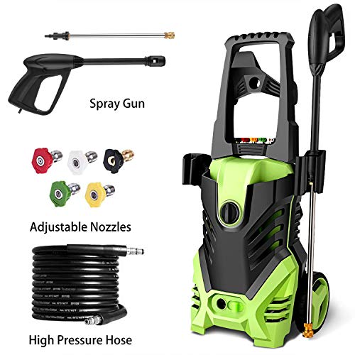 Homdox 3000 PSI Electric Pressure Washer, High Pressure Washer, Professional Washer Cleaner Machine with 4 Interchangeable Nozzles,1.80 GPM,Green 1800W