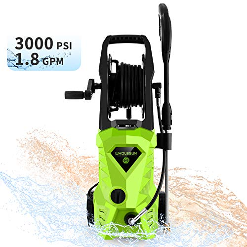 WHOLESUN 3000PSI Pressure Washer Electric 1.8GPM 1600W High Power Washer Machine with Spray Gun & 5 Nozzles (Green)