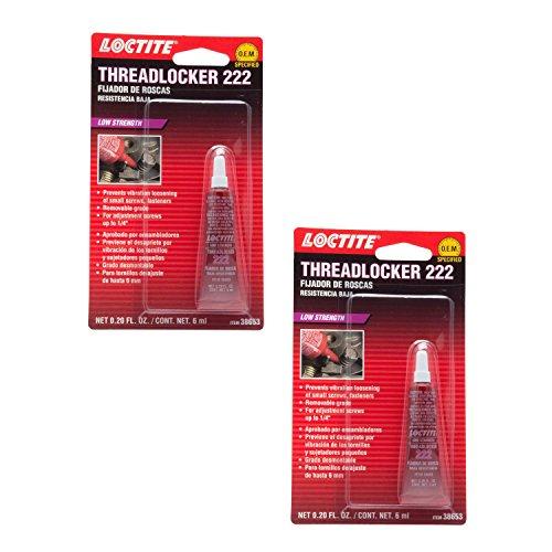 Loctite 38653 222 Purple Low Strength Thread Locker Tube - 6 ml -2 Pack