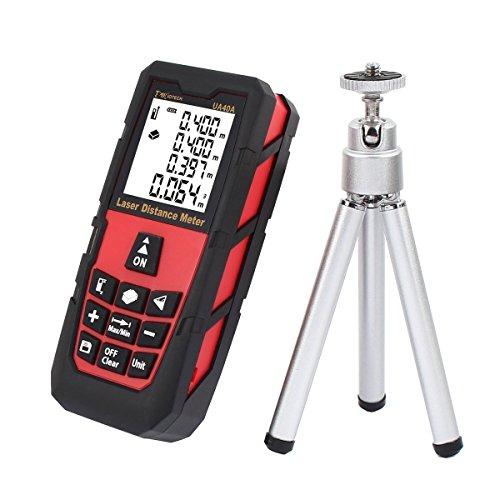 DMiotech 131ft 40m Mini Handheld Laser Digital Distance Meter Rangefinder Measure Tape Diastimeter Red with Tripod