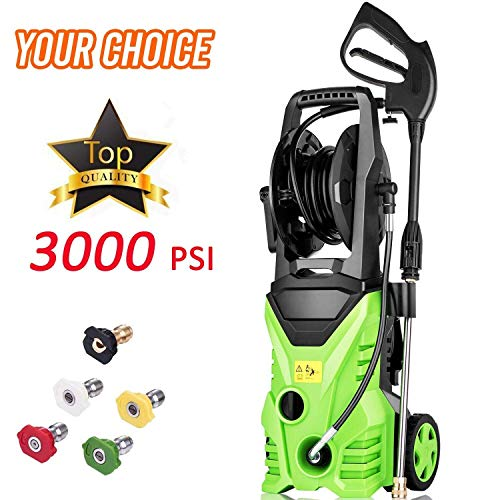 Homdox Electric Pressure Washer Power Washer Cleaner 3000PSI 1.8GPM Power Pressure Washer Machine 1800W with Power Hose Gun Turbo Wand, 5 Interchangeable Nozzles and Rolling Wheels