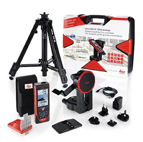 Leica DISTO S910 Pro Pack 984ft Range Laser Distance Measurer Pro Kit, Point to Point Measuring, Hard Case, TRI70 Tripod, FTA360S Adapter, Red/Black