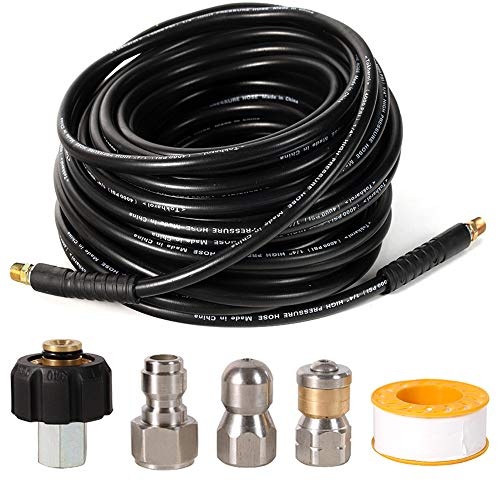 TOKHAROI Sewer Jetter Kit for Pressure Washer - 100 FT Drain Cleaning Hose, Including Power Washer Hose, Button & Rotating Nose, M22 Coupler, Seal Tape, 1/4'' M-NPT,1/4'' Quick Connector, 4000 PSI