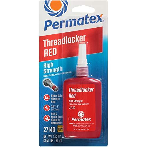 Permatex 27140 High Strength Threadlocker Red, 36 ml Bottle