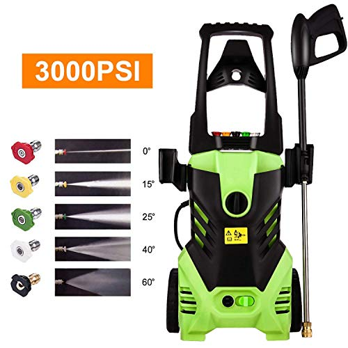 Homdox Electric High Pressure Washer 3000PSI 1.8GPM Power Pressure Washer Machine 1800W with Power Hose Gun Turbo Wand, 5 Quick-Connect Spray Tips and Rolling Wheels