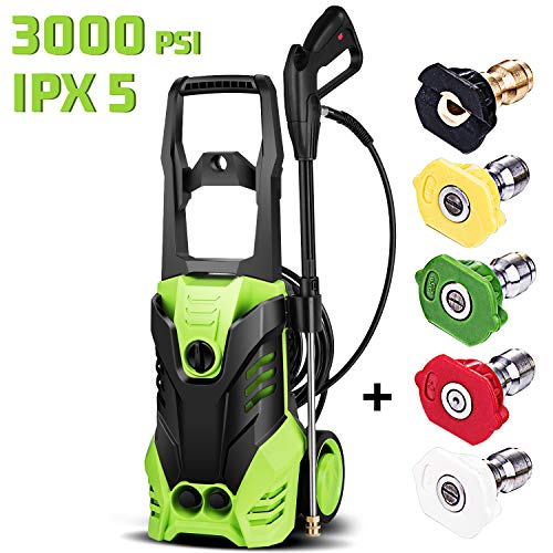 Homdox 3000 PSI Pressure Washer Electric 1800W High Pressure Power Washer Machine with Power Hose Gun Turbo Wand 5 Interchangeable Nozzles