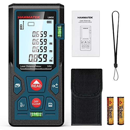 HANMATEK 165ft/50m Laser Measure Ft/In/M Switching LM50 Laser Measurement Tool Devices with 2 Bubble Levels Distance Meter,Large Backlit LCD and Pythagorean Mode, Carry Pouch and Battery Included