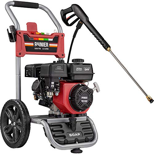 Rainier RPX3200 Gas Powered Pressure Washer 3200 PSI and 2.5 GPM, Soap Tank and Five Nozzle Set, CARB Compliant