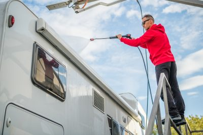 how to pressure wash an rv roof rubber or fiberglass
